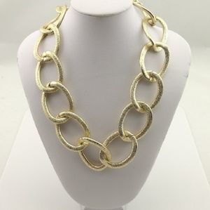 Large link brushed gold necklace